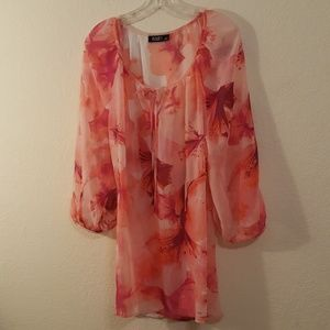 Ana Sheer Pink and Purple Floral Tunic  Sz 1X
